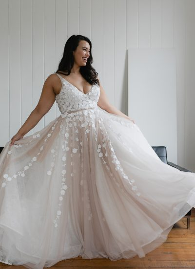 Blush wedding dress available in Adelaide by Hera Couture