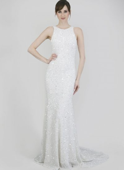 Fully sequinned Modern wedding dresses Adelaide Theia Lenni gown