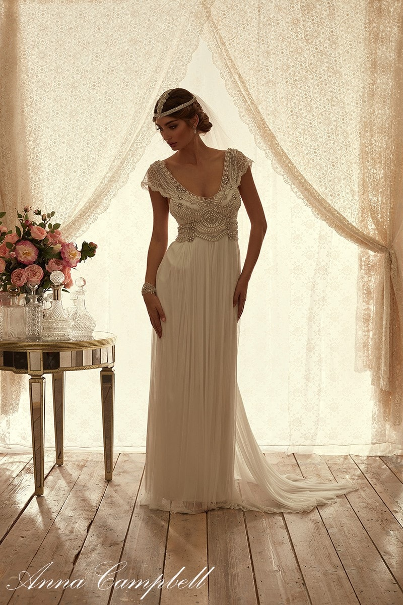 Beaded and lace V-neck wedding dress