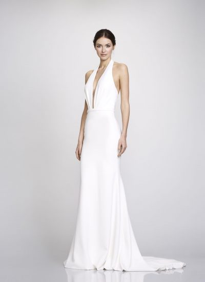 Halter crepe style wedding dress by Theia couture available in Adelaide