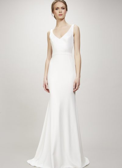 Marisa modern crepe Theia wedding dress Adelaide