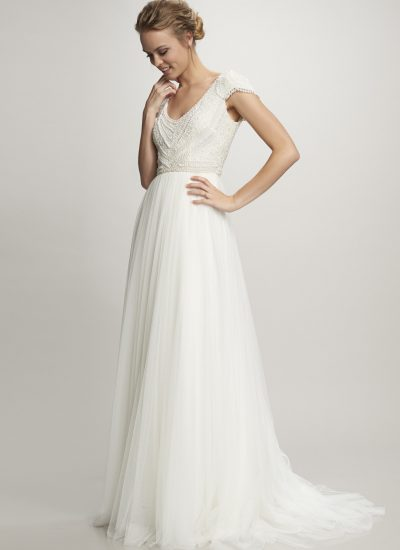 Theia Couture wedding dresses Adelaide Nima gown beaded bodice and tulle skirt