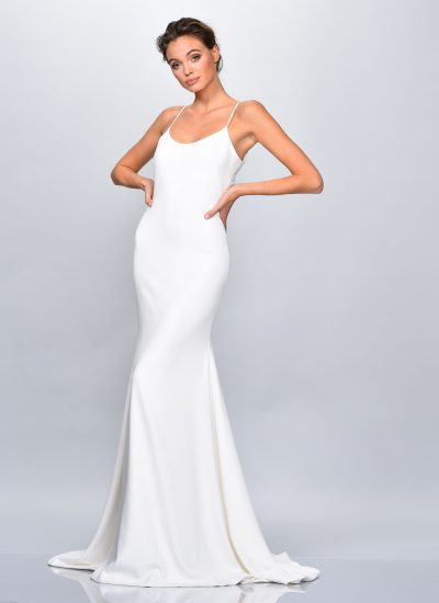 Primrose simple crepe wedding dress Theia Adelaide