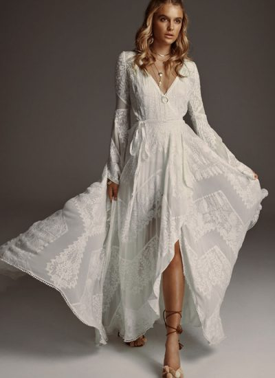 Boho long sleeve wedding dress Rue De Seine Adelaide