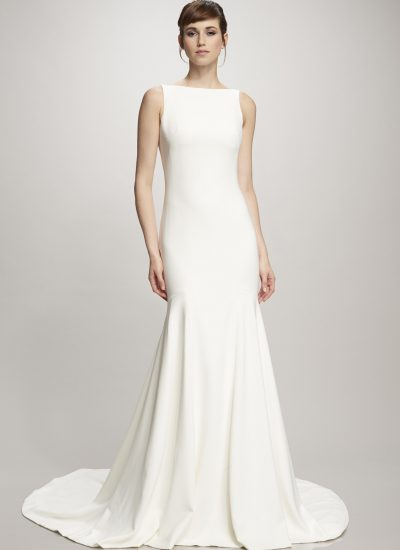 Devon simple crepe wedding dress by Theia in Adelaide
