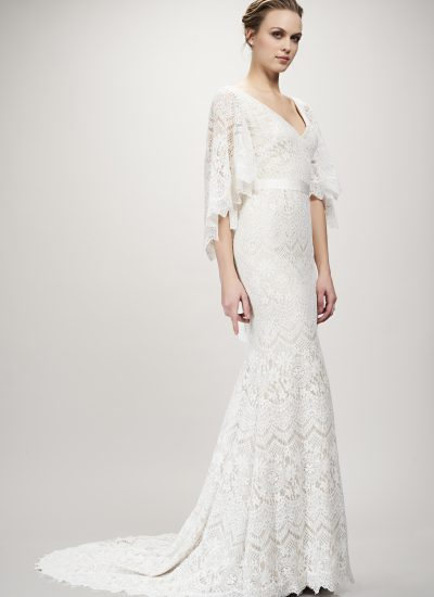 Lace wedding dress by Theia couture with long sleeves available in Adelaide